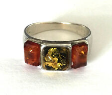 Vintage 3 Natural Amber Sterling Silver 925 Ladies Ring Band Sz 7.25