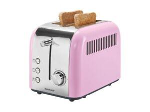 SilverCrest Retro 2 slice Toaster Pink, Removable Bun Rack. Steel front retro