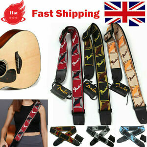 Embroidered Guitar Strap Fender Straps for Electric Guitar Acoustic Ukulele Bass