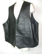 Unik Ultra Big Men's Black Leather Vest, Size 58, 4 pockets EUC!