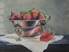 Strawberries in copper award winning original acrylic painting on canvas 9x12