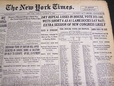 1932 DECEMBER 6 NEW YORK TIMES - DRY REPEAL LOSES IN HOUSE VOTE 272-144- NT 4817