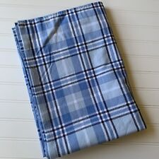 Pottery Barn Kids Curtain Panel Blue Window Pane Plaid 44 X 63