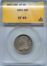 1831 25C Capped Bust Silver Quarter. ANACS Graded EF 45. Lot #2242