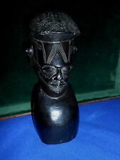 African Carved Ebony Wood Makonde Tribal Sculpture Figure