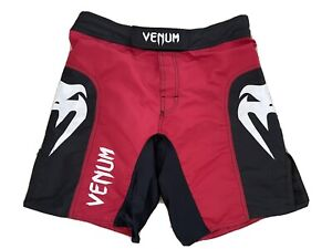 """VENUM PREMIUM UFC MMA FIGHT SHORTS - BLACK / RED - M, 33"""", No-Gi, BJJ, Muay Thai"""