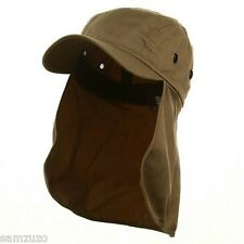 Sun Flap Hat with Neck Cover Curved Cotton Baseball Cap 10 Colors! Solid & Camo