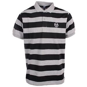 Sergio tachinni men's vintage lewisham polo Black grey bold stripe S M L XL bnwt