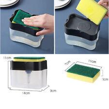 2 in1 Liquid Soap Pump Dispenser ABS Kitchen Sponge Holder Supplies Acces
