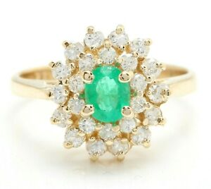 1.00 Ct Natural Colombian Emerald and Diamonds in 14K Yellow Gold Women Ring