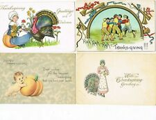 LOT of  4 ANTIQUE EARLY 1900s HOLIDAY Postcards   * THANKSGIVING *   #1017G