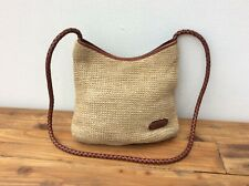 Ladies vintage straw brown leather bag Tula vgc