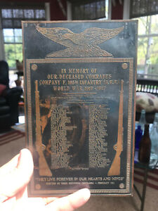 WWI Company F. 165th Infantry 42 Div. Deceased Comrades Eagle Copper Plaque