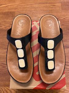 Women's FitFlop Black Leather T Strap Sandals US 7 UK 5 EUR 38