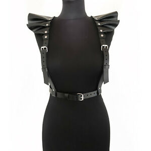 Sexy women leather harness Bdsm harness Body top Bondage BDSM Leather Pauldrons