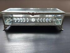 Luxury  Etched Glass Jewellery Trinket Storage Box WITH MIRROR BASE