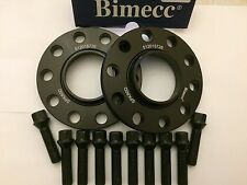 12mm BIMECC BLACK HUB CENTRIC SPACERS + 10 X 40mm BOLTS FITS BMW 72.6 M14X1.25
