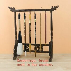 Calligraphy Pen Holder Stand Traditional Chinese Wood Writing Brush Rack 12 Hook