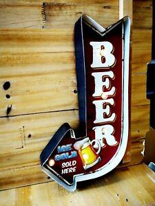Blechschild Pfeil BEER Bier mit LED Lampen Beleuchtung Kneipe Deko Bar