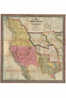 New Map of Texas Oregon & California With Regions Adjoining 1846; Antique Map