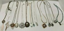 Mixed lot 14 Pendant Necklaces Hearts Flowers Feather Faux Crystal Enamel Beads