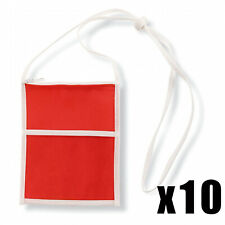 10 x RED TRAVEL WALLET POUCH PURSE PASSPORT TICKETS HOLDER NECK STRAP ID ZIPPED