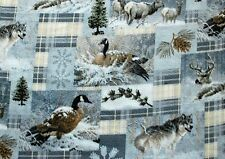 WINTER GEESE, DEER, & WOLVES ON GREYS ANTI PILL FLEECE MATERIAL 2 1/2 YDS 60X90""