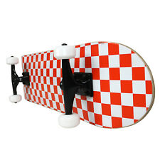 PRO Skateboard Complete Pre-Built CHECKER PATTERN White/Red 7.75""