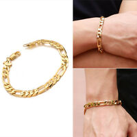 18K Yellow Gold Plating Women Men Bracelet Curb Chain Fashion Bangle Jewelry New