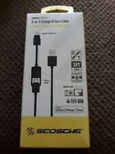 Scosche SmartSTRIKE 3ft 2-in-1 Charge & Sync Cable -Black Apple iPad iPhone iPod