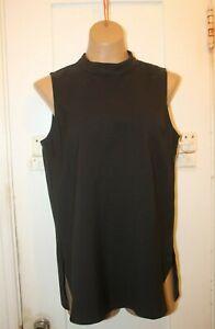 ELLISON Black Sleeveless Tunic Blouse Top Shirt Women's Size Small