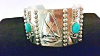 NEW Turquoise Beaded Burnished Silvertone Arrow Cuff Bracelet