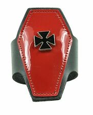 Coffin Shape Leather Bracelet Iron Cross Punk Goth Rockabilly Metal Zombie