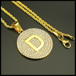 Letter D Necklace Gold Color Long Chain Pendant Necklaces For Men Women Jewelry