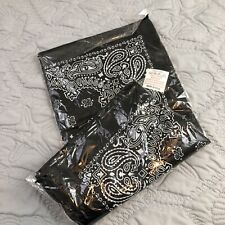Lot Of 12 NEW PACKAGE Paisley Print Kaiser Black Scarf Bandana 100% Cotton 22x22
