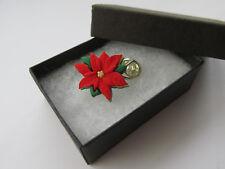Handmade Unusual Red Festive Poinsettia Flower Christmas Brooch Lapel Pin - Box