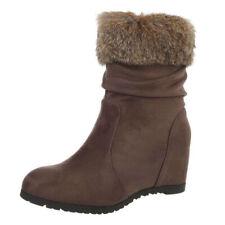 Stiefel Stiefeletten Keilabsatz Wedge High Heels Reißverschluss Braun 38