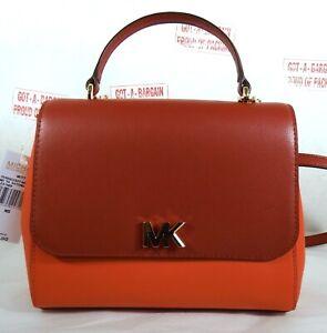Michael Kors Mott Medium Top Handle Leather satchel Crossbody Bag