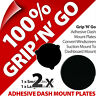2 x 2 Pama Adhesive Dash Dashboard Plates Suction Cup Mobile Smart Phone Sat Nav
