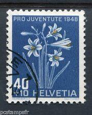 SUISSE SCHWEIZ, 1948, timbre 470, FLEURS, FAUX LYS, FLORE, FLOWERS, oblitéré