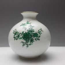 Augarten Wien Porzellan Vase Prinz Eugen Dekor grüne Blumen Tischvase Goldrand