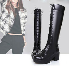 Ladies Women Punk Knee High Boots Chunky Platform Goth Combat Lace Up High Wedge