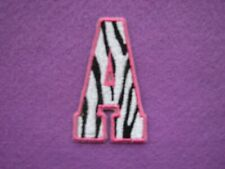 Zebra Monogrammed Letter A  2 3/4 inch  Iron on Embroidered Applique Patch