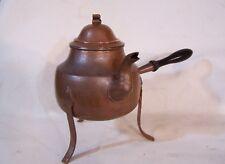 Vintage Arts & Crafts Hammered Copper Tea Kettle / Pot w Lid & Wood Handle Swiss