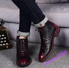 Mens Alligator Printed High Tops Ankle Boots Lace Up Wedding Dress Formal Shoes