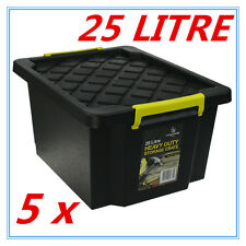 5 x Black Heavy Duty Large Plastic Storage Tubs 25L Crate Containers Tub Lid FD
