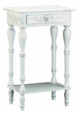 Antiqued White Carved Side Table Elegant French Country Cottage Telephone Stand