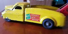 PRESS STEEL TOYS - EARLY BUDDY L AUTO EMERGENCY WRECKER TRUCK Yellow Red Boom
