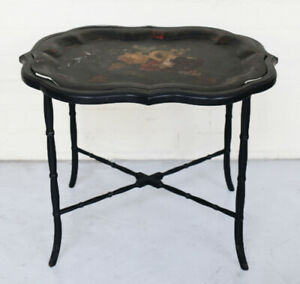 Vintage Chinese Tea Tray bamboo style legs removable painted tray floral designs