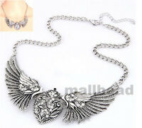 Fashion Women Vintage Wings Chain Choker Chunky Statement Bib Heart Necklace